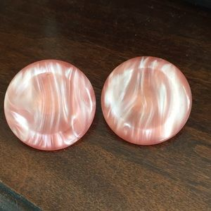 Pink Round Acrylic Clip Earrings